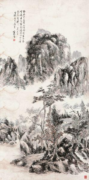黄宾虹 峰峦疏林 135x65cm 设色纸本 立轴