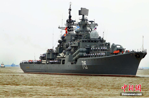 Russian naval vessels have arrived in Shanghai. They will join the Chinese navy in a joint military exercise to be staged in the waters and air space near Shanghai, in the East China Sea. (Xinhua)