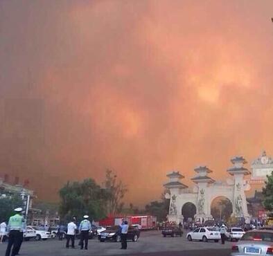 山东威海仙姑顶景区发生火灾 火势仍未控制