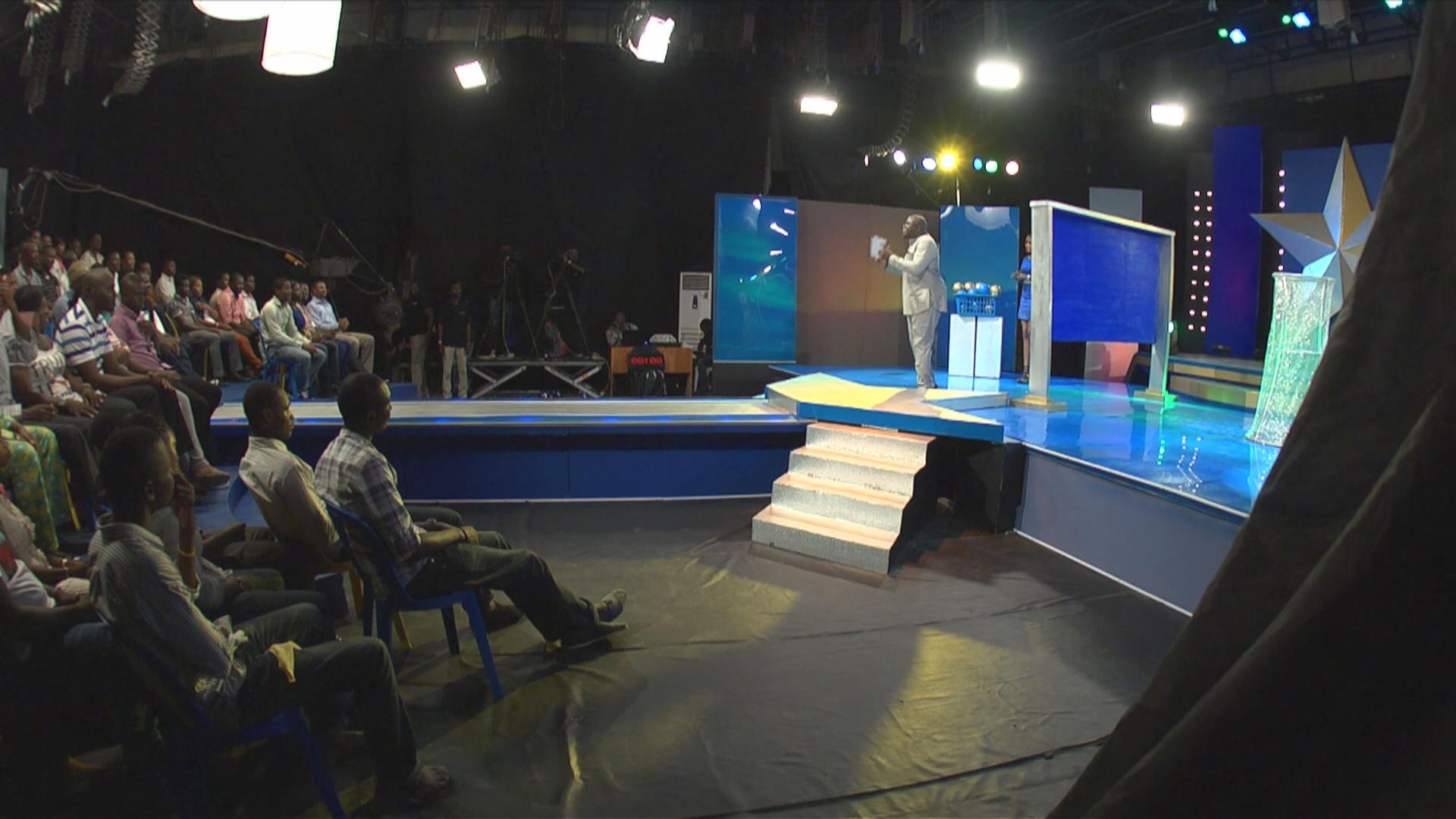 The Nigerian Game Show in session. The stage was designed and created by Pat Nebo and his crew.