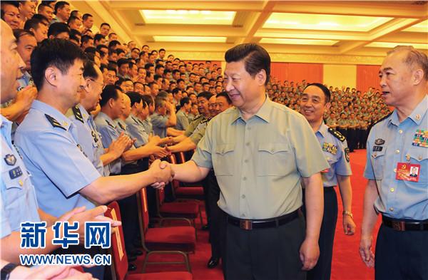 6月17日,中共中央总书记、国家主席、中央军委主席习近平在北京接见空军第十二次党代会代表,并发表重要讲话。 记者 李刚 摄