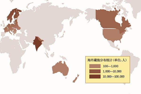 """境外藏胞的分布图:据中国国侨办数据显示,目前境外藏胞数量约为20万人,除去定居印度的近11万人,及生活在尼泊尔的3万多人,其他主要分布在31个国家和地区,以美国、加拿大、瑞士、英国、澳大利亚、新西兰为主。(制作:李艳 刘鹏)   """"我现在不知道干什么好。看到我的其他同胞在印度也都过着无根无落的难民生活,我才知道我的出逃是一个绝对的错误。现在我只想回家,回到我的故乡拉萨。你告诉我,我能回去吗?""""   ——一个叫平措的中年人2012年10月在新德里对《环球时报"""