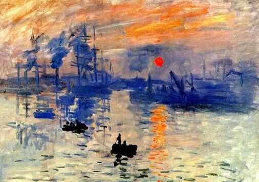 莫奈以风景画为主,很少描写人物,色彩对比强烈.