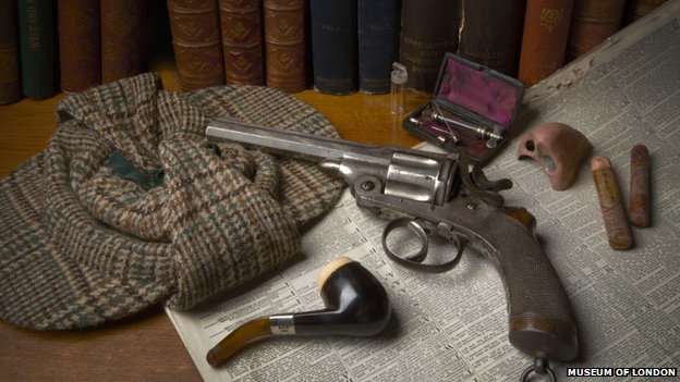 The exhibition features numerous tools the detective used while foiling crimes, including wigs and makeup he donned to fool enemies.