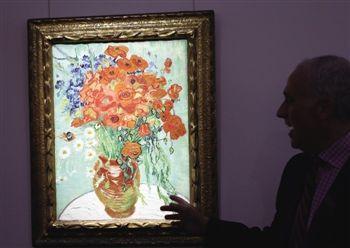 梵高的油彩布本静物画杰作 静物 插满雏菊和罂粟花的花瓶高清图片