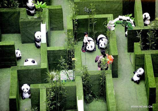 A woman and a girl explore a panda-themed labyrinth at a shopping mall in Shenyang, capital of northeast China