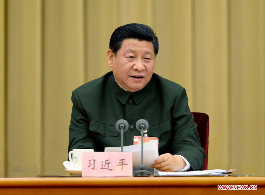 Chinese President Xi Jinping, also general secretary of the Communist Party of China (CPC) Central Committee and chairman of the Central Military Commission (CMC), addresses a meeting of the armament work of the People