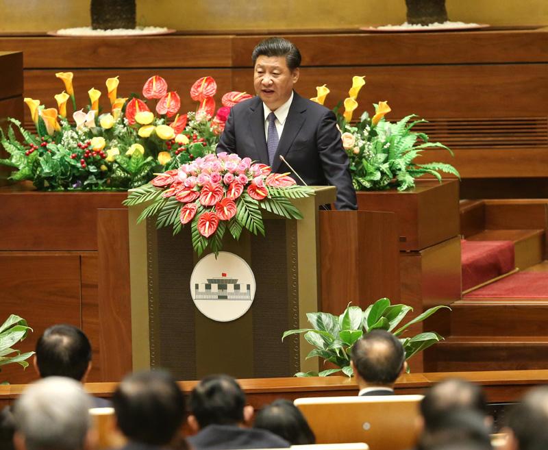 11月6日,习近平在越南国会发表题为《共同谱写中越友好新篇章》的重要演讲。