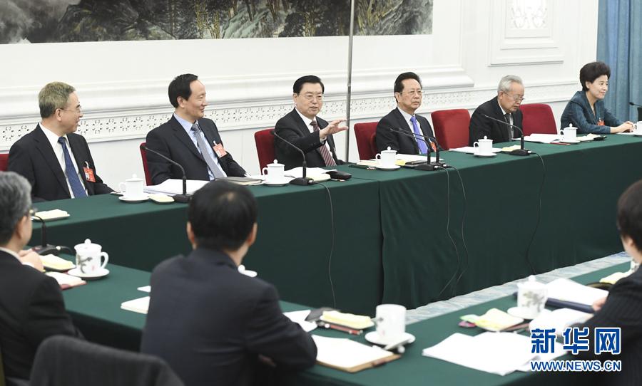 3月10日,中共中央政治局常委、全国人大常委会委员长张德江参加十二届全国人大五次会议宁夏代表团的审议。