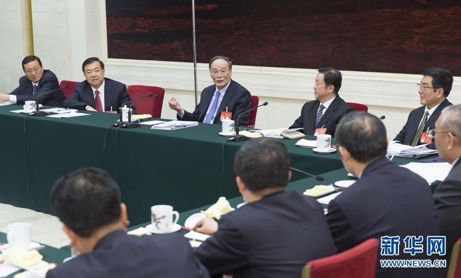 3月10日,中共中央政治局常委、中央纪委书记王岐山参加十二届全国人大五次会议甘肃代表团的审议。