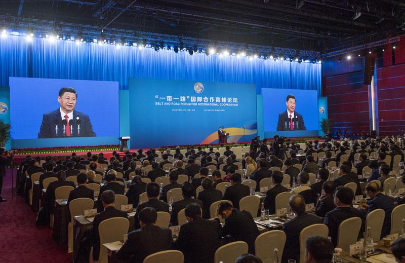 """5月14日,国家主席习近平在北京出席""""一带一路""""国际合作高峰论坛开幕式,并发表题为《携手推进""""一带一路""""建设》的主旨演讲。"""