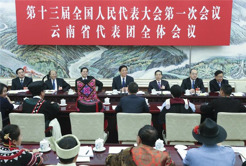 3月10日,中共中央政治局常委栗战书参加十三届全国人大一次会议云南代表团的审议。