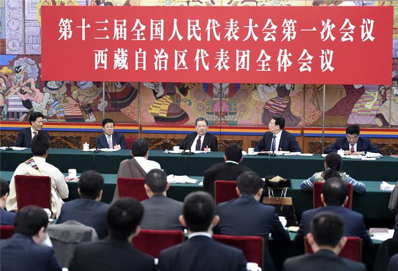 3月10日,中共中央政治局常委、中央纪委书记赵乐际参加十三届全国人大一次会议西藏代表团的审议。