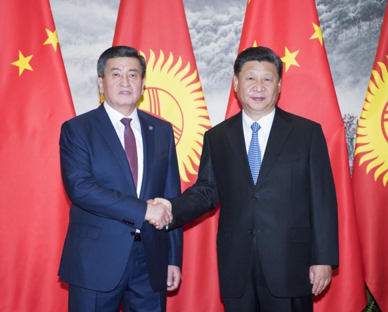 6月6日,国家主席习近平在北京人民大会堂同吉尔吉斯斯坦总统热恩别科夫举行会谈。