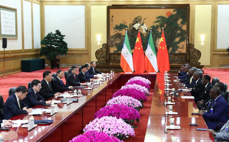 9月2日,国家主席习近平在北京人民大会堂会见赤道几内亚总统奥比昂。新华社记者 谢环驰 摄