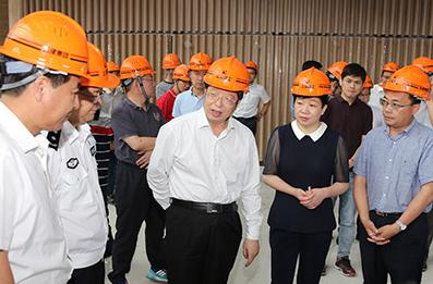 浙江省湖州市委副书记、市长钱三雄(前右三)检查位于德清县的首届联合国世界地理信息大会项目建设。