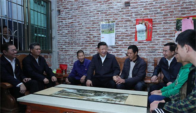 2018年10月23日下午,习近平在广东省英德市连江口镇连樟村贫困户陆奕和家。