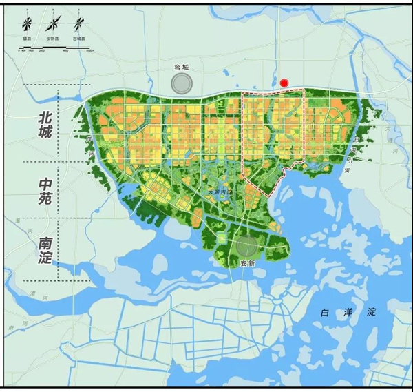 这是雄安新区建设的起步区,规划建设用地100平方公里。上方红点标注的位置就是习近平这次去看的市民服务中心。(图片来源于《河北雄安新区规划纲要》)