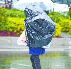连雨伞也遮不住瓢泼大雨,聪明的行人用塑料袋遮住了后背。