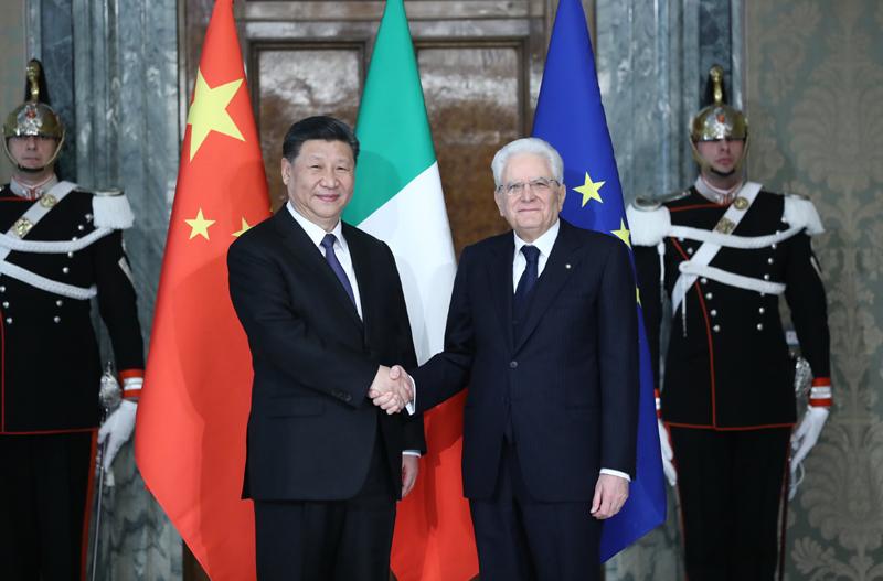3月22日,国家主席习近平在罗马同意大利总统马塔雷拉举行会谈。