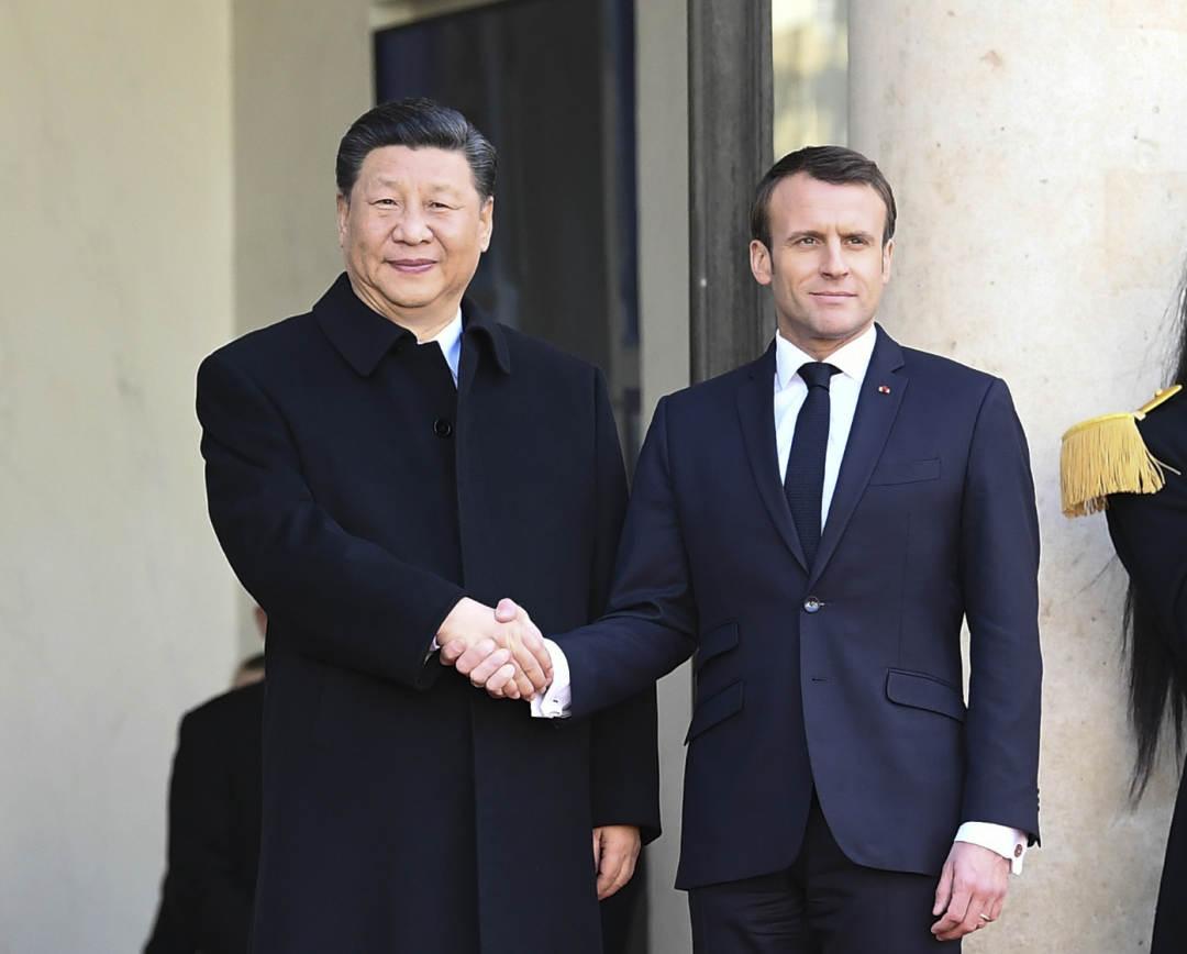 3月25日,国家主席习近平在巴黎爱丽舍宫同法国总统马克龙会谈。新华社记者 谢环驰 摄