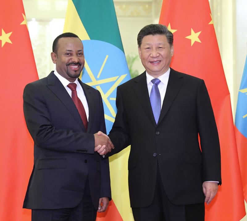 4月24日,国家主席习近平在北京人民大会堂会见埃塞俄比亚总理阿比。