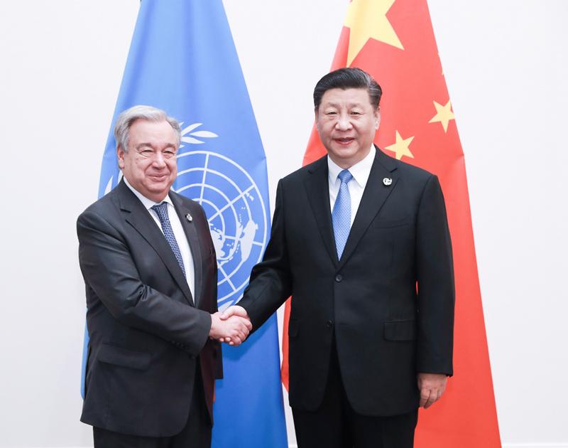 6月28日,国家主席习近平在大阪会见联合国秘书长古特雷斯。