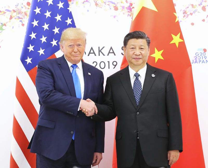 当地时间6月29日上午,国家主席习近平同美国总统特朗普在日本大阪举行会晤。 新华社记者 鞠鹏 摄