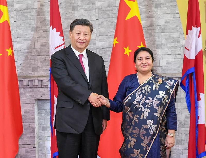 10月12日,国家主席习近平在加德满都总统府会见尼泊尔总统班达里。新华社记者 谢环驰 摄