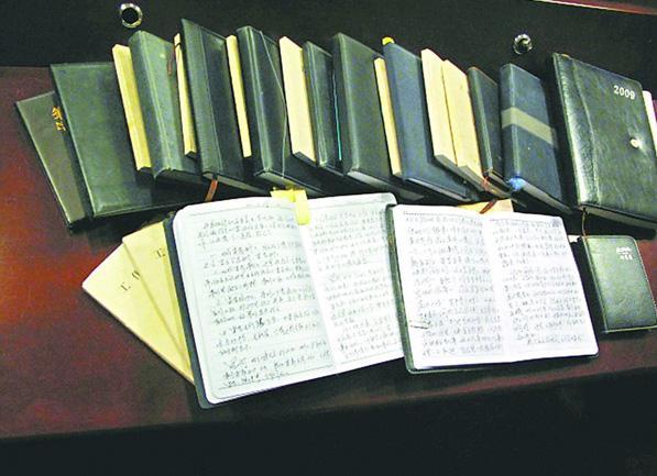 圖為沈浩的29本日記和工作筆記
