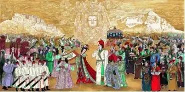 文成公主入藏图(中国画) 尼玛泽仁 图:学习强国