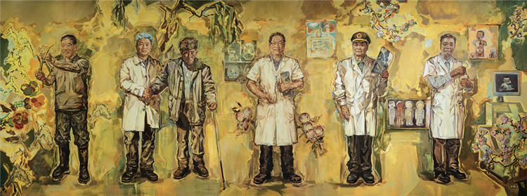 《为了人民的健康――贾立群、黎介寿、徐克成、万少华、赵亚夫》 井士剑、蔡枫、梁怡 油画