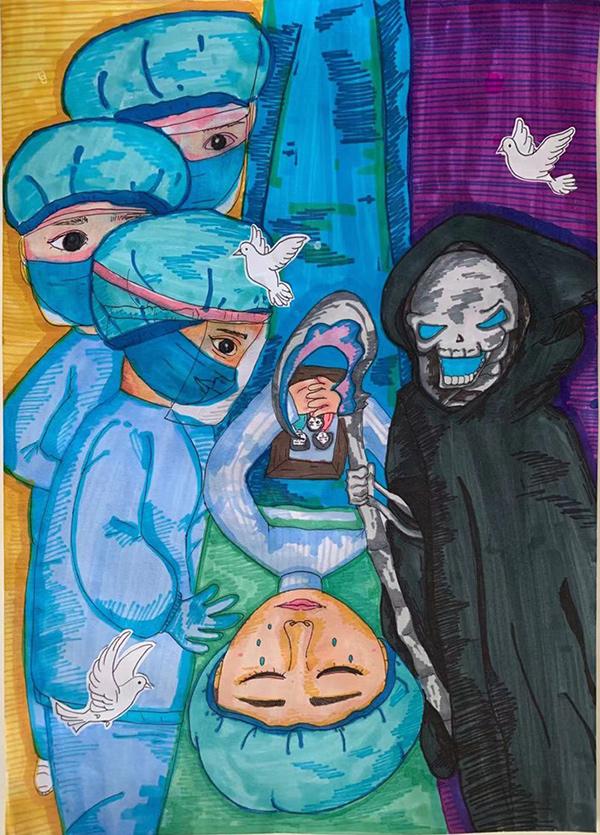 《天使戰惡魔》 肖依依   兒童畫  12歲