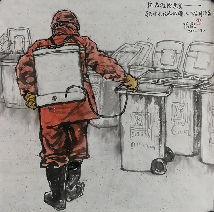 《抗擊疫情》 張龍  中國畫
