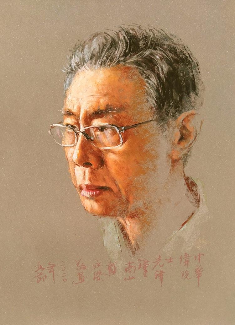 《中華偉院士,先鋒鐘南山》  戴永傑   色粉畫