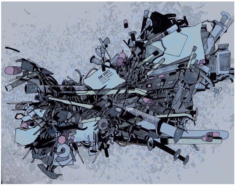 《前線》王肇興  漆畫稿