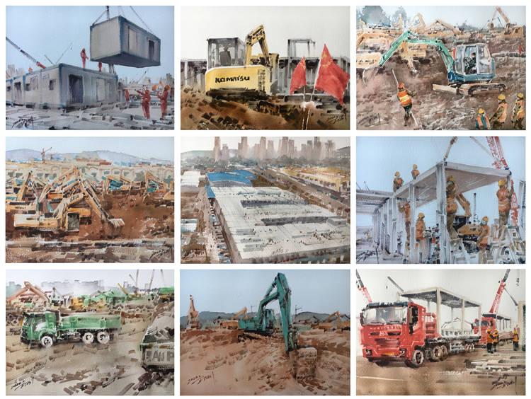 《中國速度:火神山醫院的建設》王剛    水彩畫