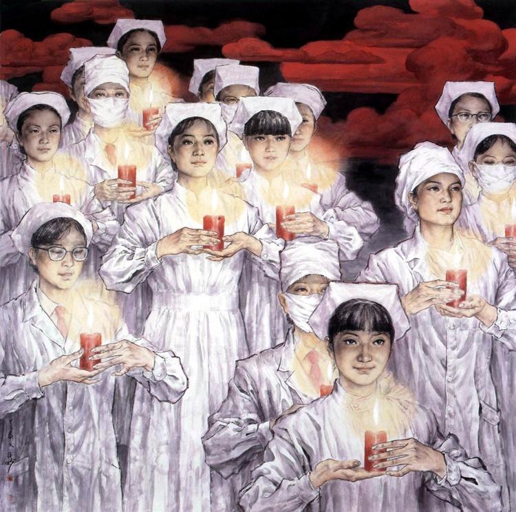 《天使在人間》 苗再新  中國畫
