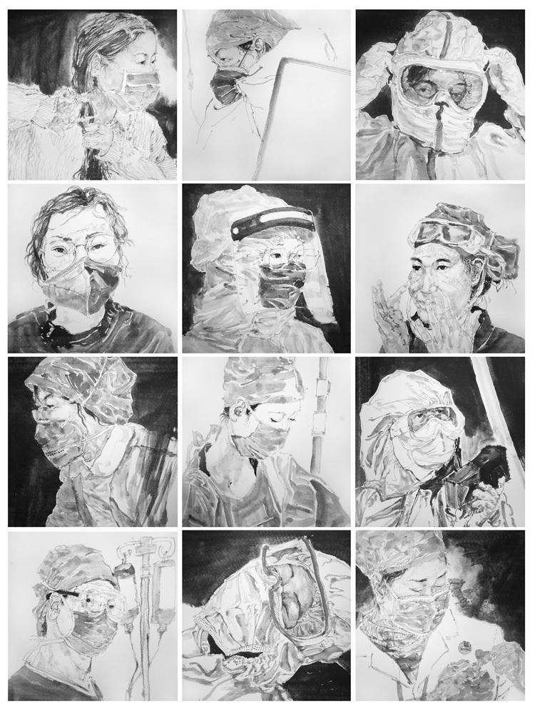 《最美逆行者》李振东    中国画