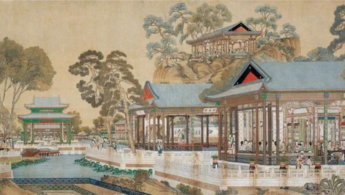 《大觀園圖》橫披,紙本設色,縱137厘米,橫362厘米,中國國家博物館藏