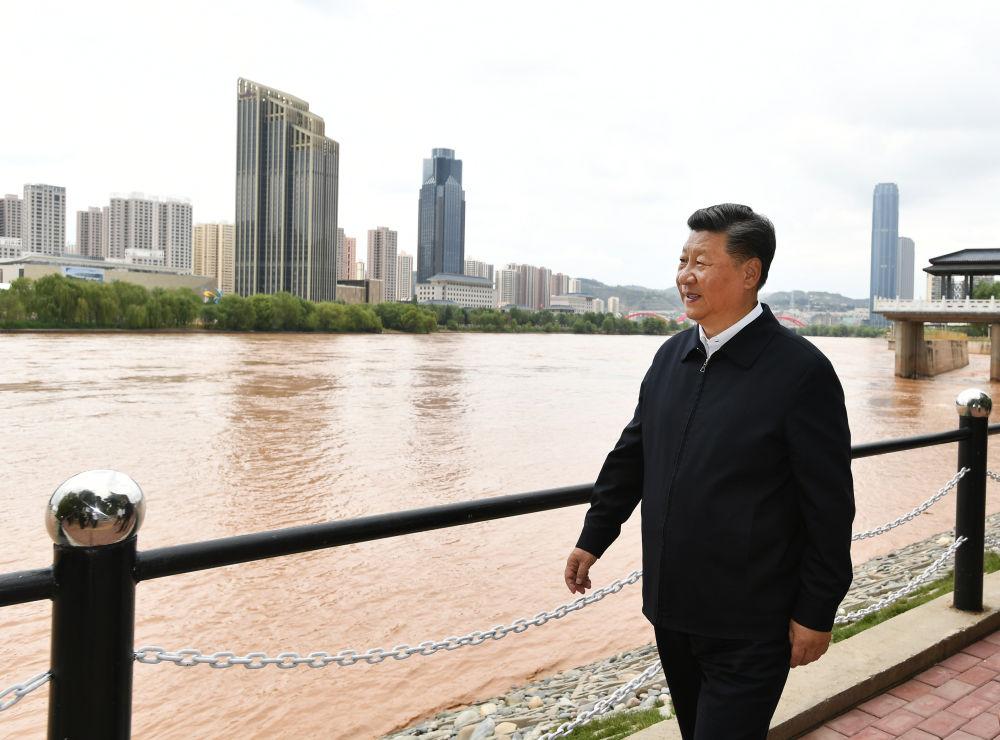 2019年8月21日,习近平在兰州考察。新华社记者 谢环驰 摄
