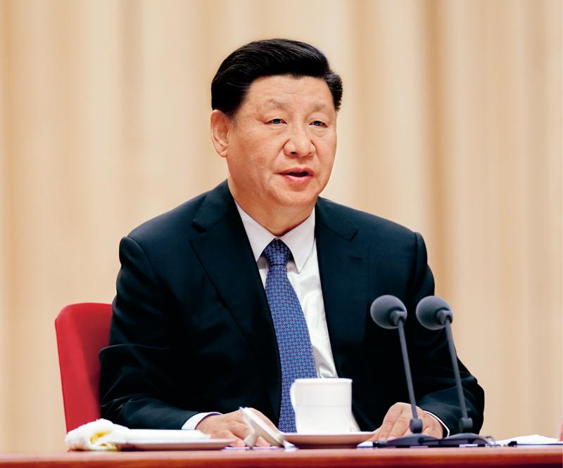 """2020年1月8日,""""不忘初心、牢记使命""""主题教育总结大会在北京召开。中共中央总书记、国家主席、中央军委主席习近平出席会议并发表重要讲话。 新华社记者 鞠鹏/摄"""