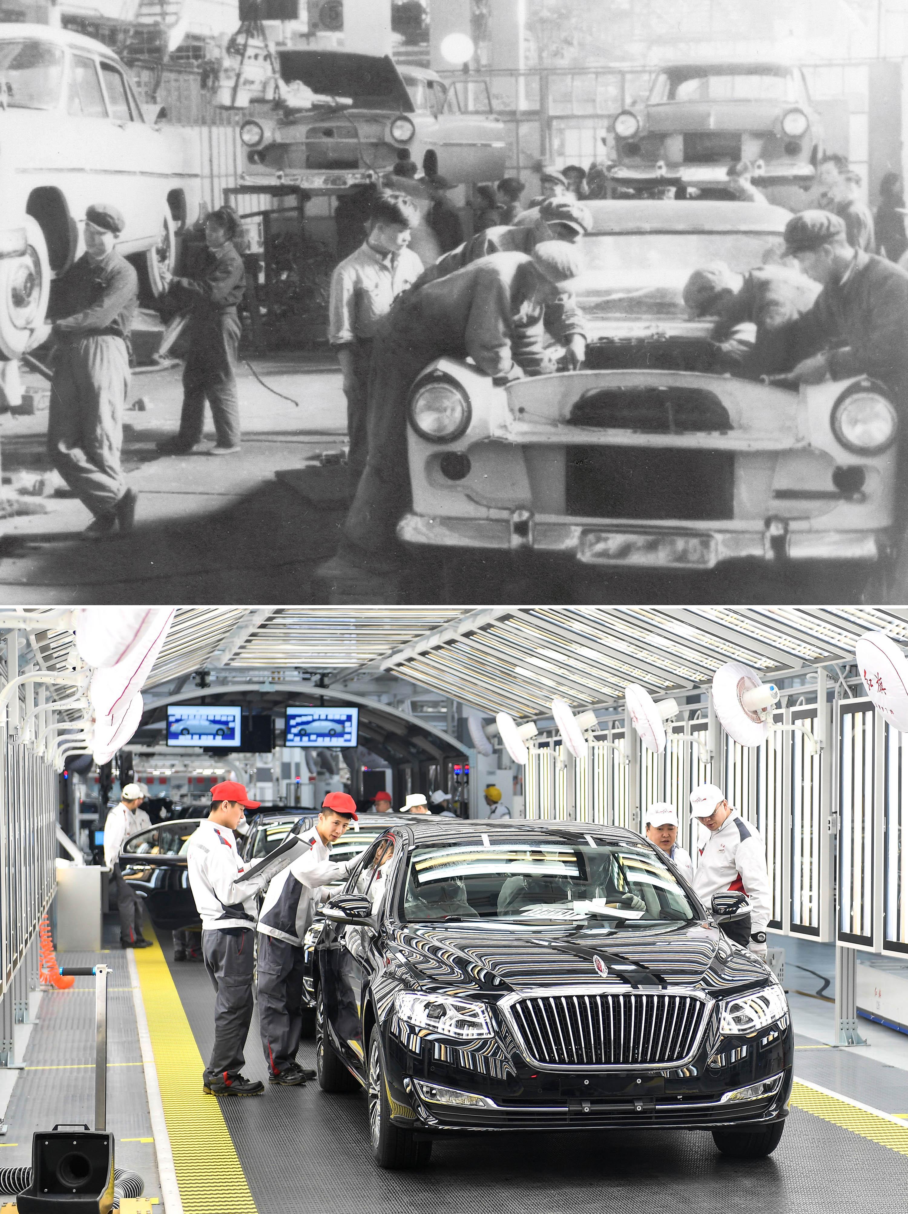 拼版照片:上图为1958年拍摄的第一汽车制造厂(资料照片)。这里生产了第一批红旗轿车;下图为2019年4月9日,在一汽红旗总装车间内,职工在对生产的红旗轿车进行静检作业。