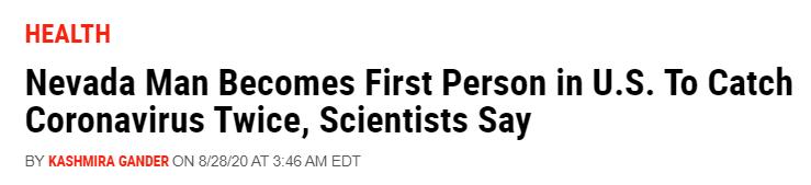 美国|美媒:美国首次出现新冠病毒二次感染病例 感染间隔仅一个月