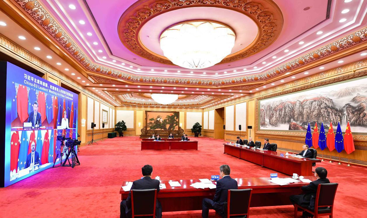 2020年9月14日晚,国家主席习近平在北京同欧盟轮值主席国德国总理默克尔、欧洲理事会主席米歇尔、欧盟委员会主席冯德莱恩共同举行会晤,会晤以视频方式举行。