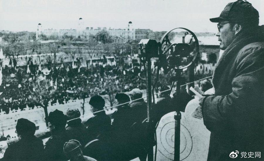 1949年2月12日,叶剑英在庆祝北平和平解放大会上发表讲话。