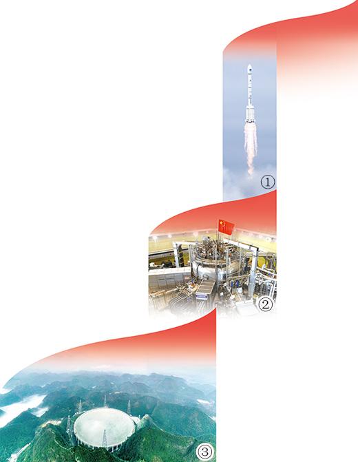 """图①:2020年6月23日,我国北斗三号全球卫星导航系统最后一颗组网卫星在西昌卫星发射中心点火升空。图②:我国研发的被称为""""人造太阳""""的大科学装置EAST。图③:位于贵州平塘县的""""中国天眼"""",是当今世界最大的单口径射电望远镜。"""