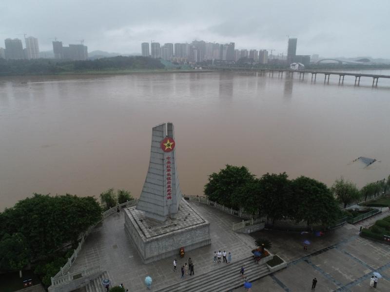 这是位于江西于都县的中央红军长征出发纪念碑(2019年6月12日摄,无人机照片)。新华社记者 周密 摄