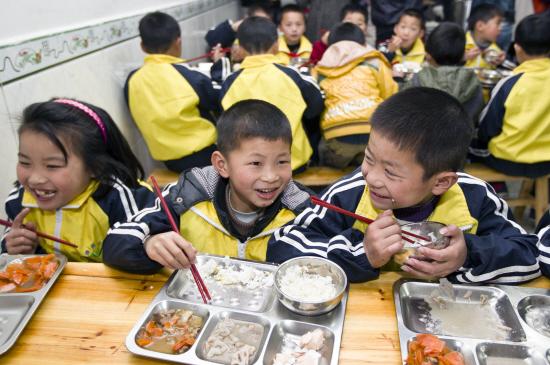 该项目倡议每天捐赠3元为贫困地区学童提供免费午餐.