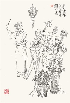 中秋节月亮手绘图片